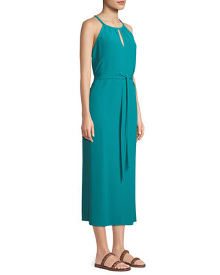 Image 3 of 4: Sleeveless Long Viscose Crepe Halter Dress