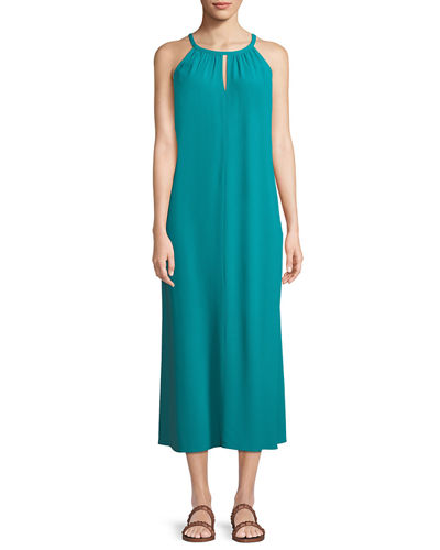Eileen Fisher Sleeveless Long Viscose Crepe Halter Dress