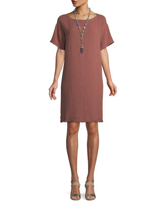 Eileen Fisher Short-Sleeve Lofty Organic Cotton Gauze Dress
