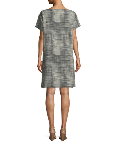 Daze Short-Sleeve Printed Silk Dress, Plus Size