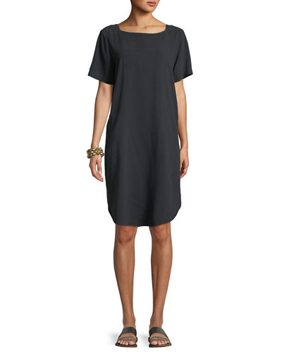 Fuji Silk Short-Sleeve Dress with Pockets