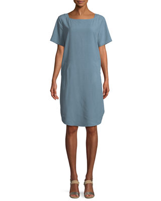 Eileen Fisher Fuji Silk Short-Sleeve Dress with Pockets