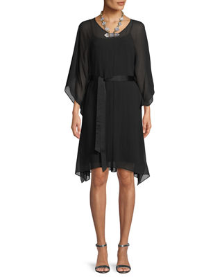 Eileen Fisher Sheer Silk V-Neck Caftan Dress w/