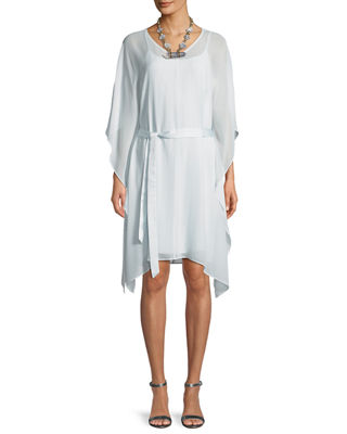 Sheer Silk V-Neck Caftan Dress w/ Belt