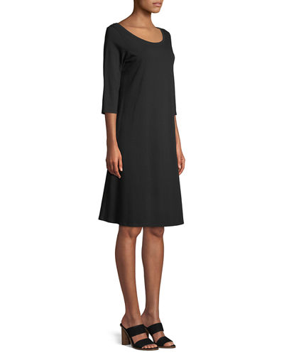 3/4-Sleeve Organic Cotton Stretch A-line Dress, Petite