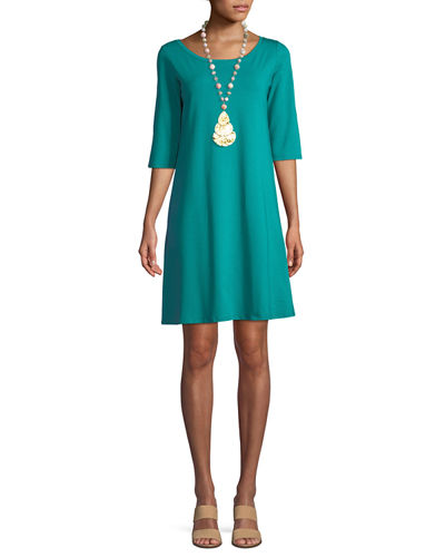 3/4-Sleeve Organic Cotton Stretch A-line Dress