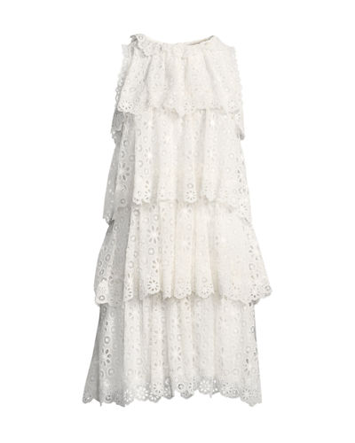 Tiered Sleeveless Pinwheel Eyelet Dress