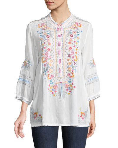 Plus Size Bethanie 3/4-Sleeve Embroidered Tunic