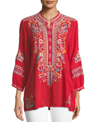 Johnny Was Bethanie 3/4-Sleeve Embroidered Tunic , Plus