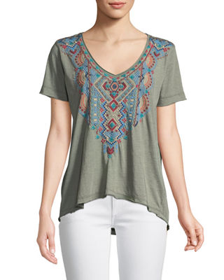 Johnny Was Sonoma Embroidered Everyday Tee, Plus Size