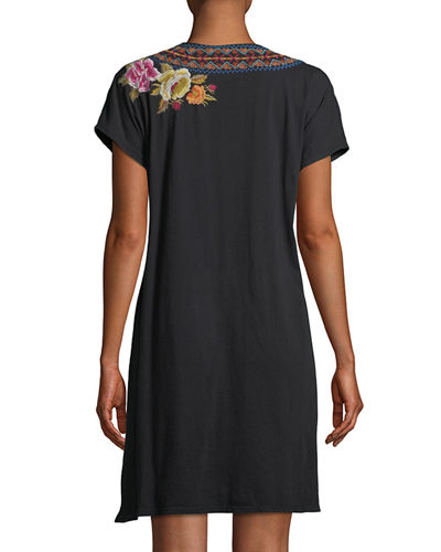 Vella Easy Knit Short-Sleeve Tunic Dress