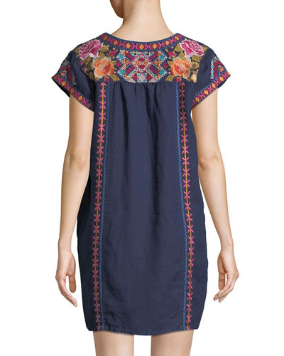 Vella V-Neck Embroidered Linen Shift Dress