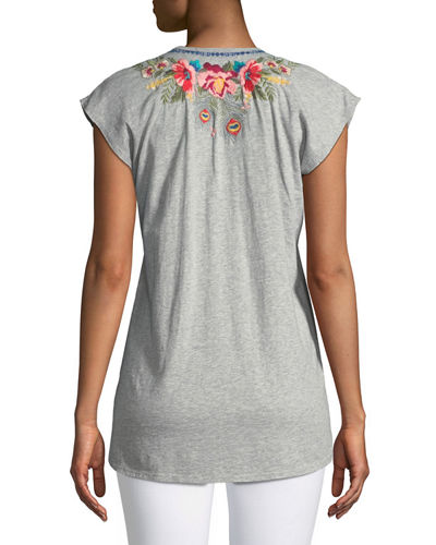 Vernazza V-Neck Embroidered Tee