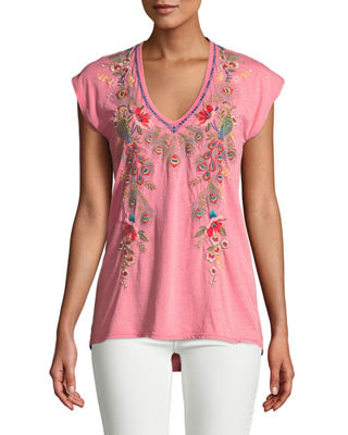 Johnny Was Vernazza V-Neck Embroidered Tee, Plus Size