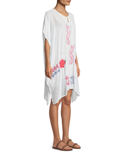 Tillson Embroidered Georgette Drama Caftan, Plus Size