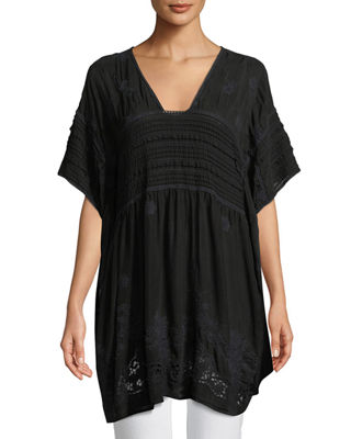 Johnny Was Hiedine Georgette Drama Poncho Top