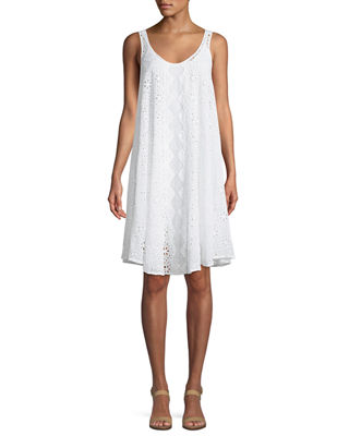 Johnny Was Mixed Eyelet Georgette Shift Dress with
