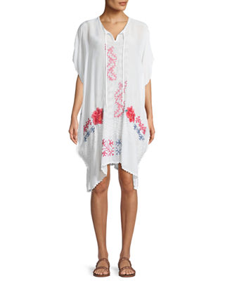 Johnny Was Tillson Embroidered Georgette Drama Caftan