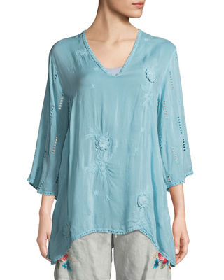 Johnny Was Chancy V-Neck Tunic w/Floral Embroidery and