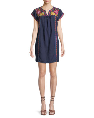 Johnny Was Vella V-Neck Embroidered Shift Dress, Plus