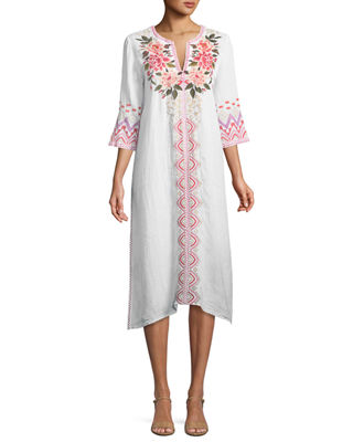 Johnny Was Parnaz Embroidered Caftan Dress