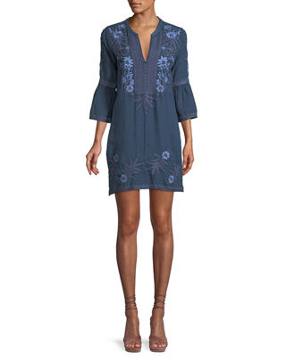 Johnny Was Lila Jo Flare-Sleeve Shift Dress