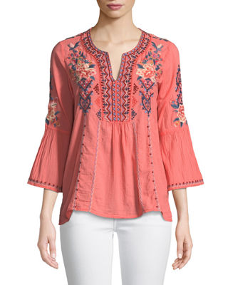 Johnny Was Marion Flare-Sleeve Embroidered Blouse