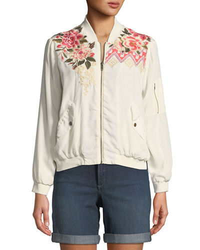 Parnaz Embroidered Silk Crepe de Chine Bomber Jacket