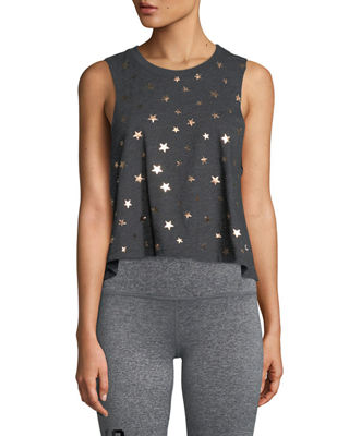 Stars Foil Graphic Cropped Tank
