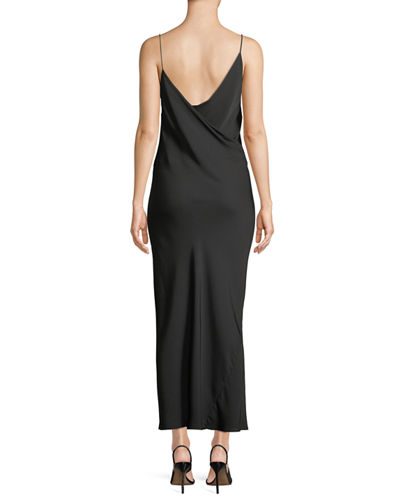 Draped Sleeveless Silk Maxi Slip Dress