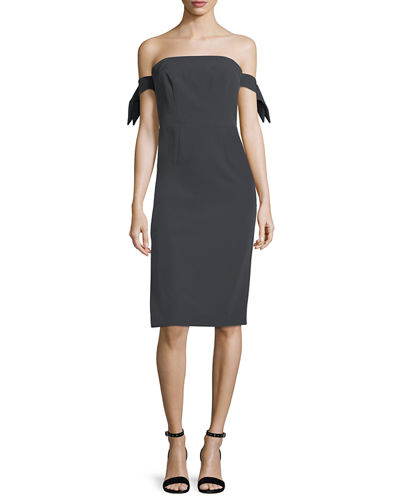 Brit Off-the-Shoulder Italian Cady Cocktail Sheath Dress