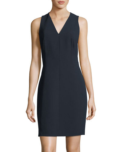 Elie Tahari Linzra Zip-Front V-Neck Sheath Dress