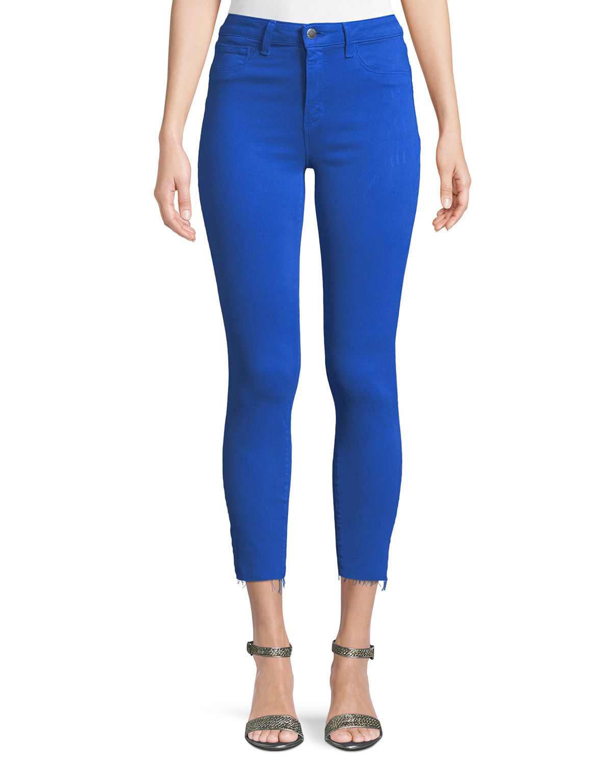 Margot High-Rise Skinny-Leg Jeans w/ Unfinished Hem