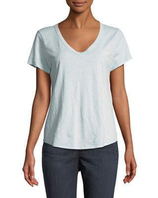 Short-Sleeve Organic Cotton V-Neck Shirttail Tee