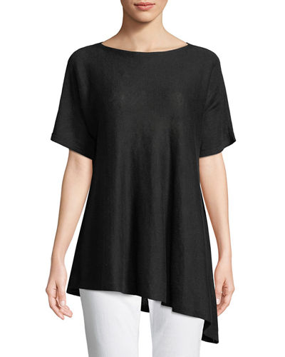 Short-Sleeve Asymmetric Linen Top