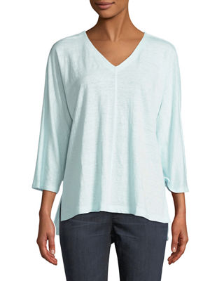 Eileen Fisher Linen Jersey V-Neck Top, Plus Size