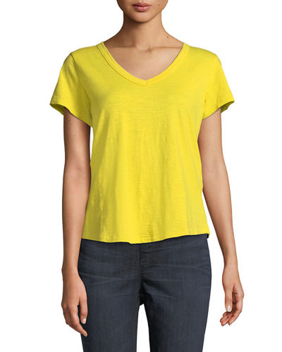 Eileen Fisher Short-Sleeve Organic Cotton V-Neck Shirttail Tee