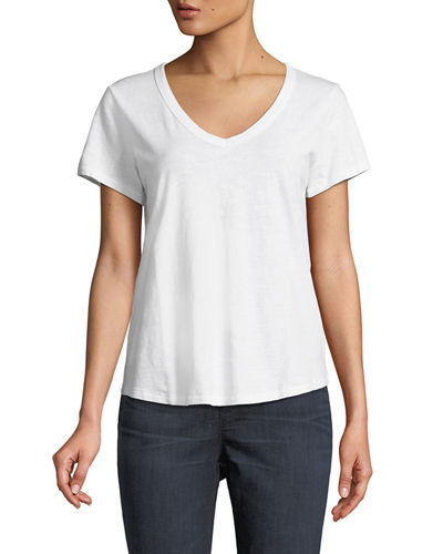 Short-Sleeve Organic Cotton V-Neck Shirttail Tee, Plus Size