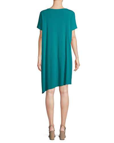 Ballet-Neck Asymmetric-Hem Jersey Dress