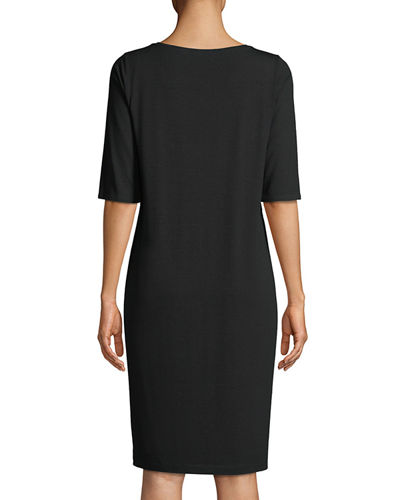V-Neck Half-Sleeve Jersey Dress