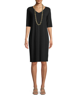 Eileen Fisher V-Neck Half-Sleeve Jersey Dress