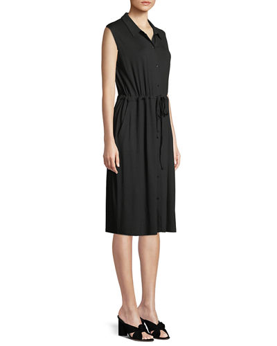 Sleeveless Lightweight Viscose Jersey Drawstring-Waist Shirtdress