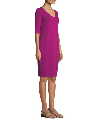 V-Neck Half-Sleeve Jersey Dress, Petite