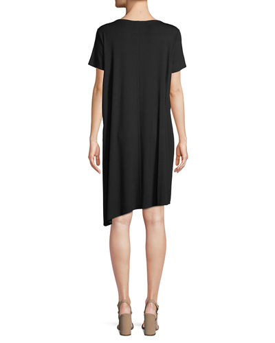 Petite Ballet-Neck Asymmetric-Hem Jersey Dress