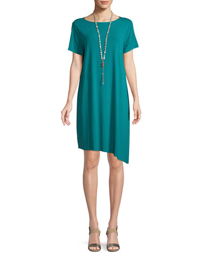 Ballet-Neck Asymmetric-Hem Jersey Dress, Petite