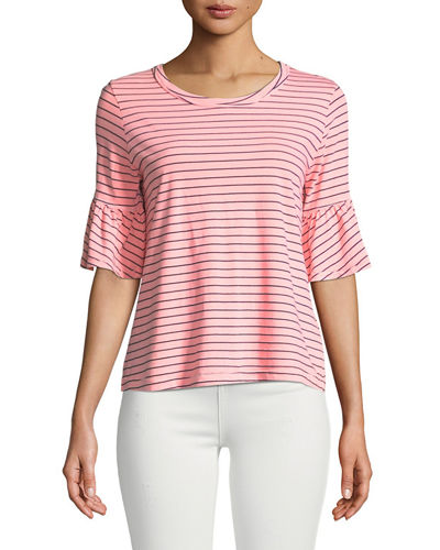 Striped Flutter-Sleeve Crewneck Tee