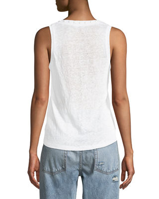 Image 2 of 2: Everett Studs Linen Tank