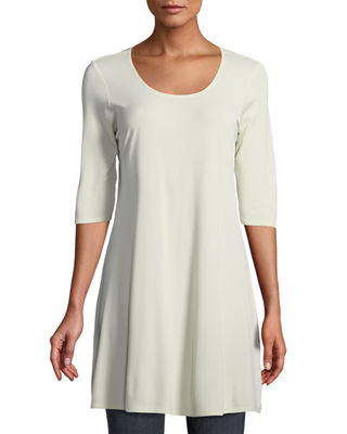 Eileen Fisher Half-Sleeve Silk Jersey Tunic, Plus Size
