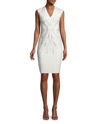 PH15 Embroidered V-Neck Sheath Dress in White