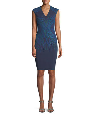 PH15 Embroidered V-Neck Sheath Dress in Indigo 22